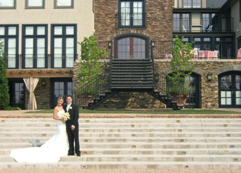 On the steps of the reception